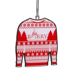 Die Struck Ugly Sweater Ornament with offset printed insert